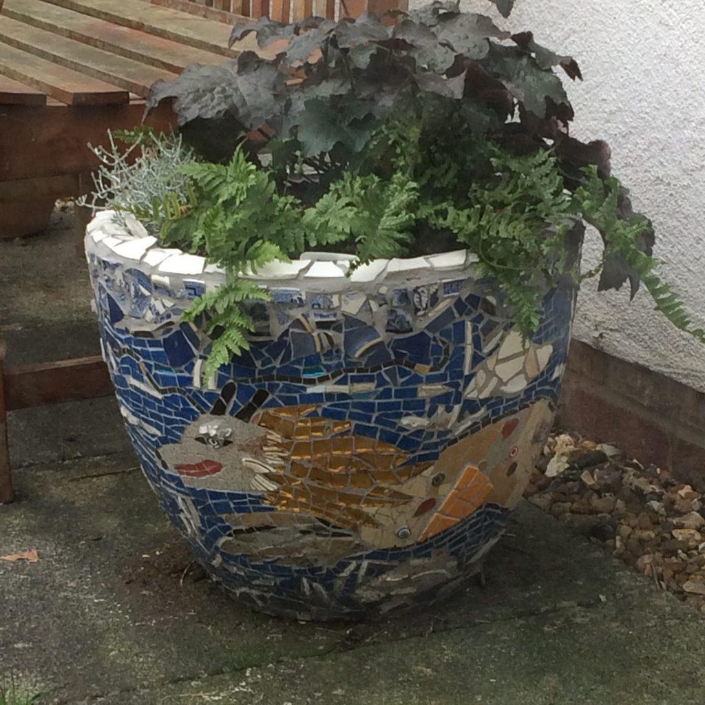 sea dragon mosaic pot