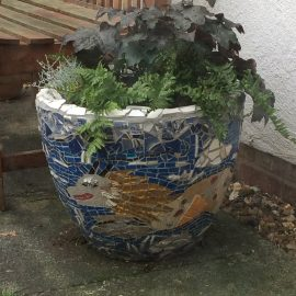 sea dragon mosaic pot