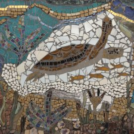 swimming turtle mosaic
