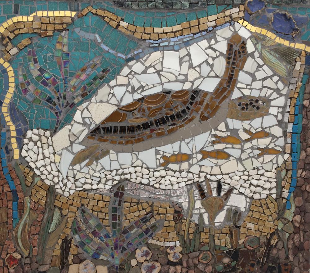 swimming turtle mosaic